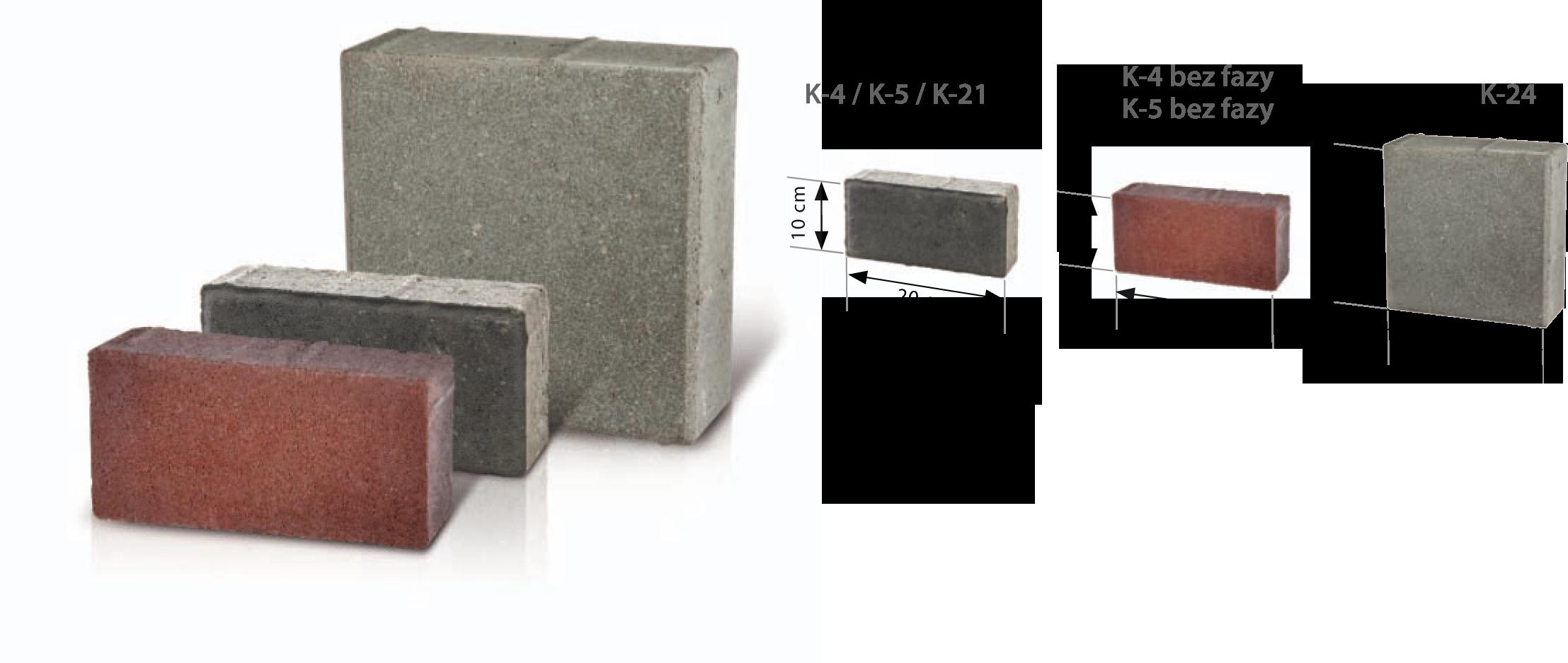 Kostki brukowe przemysłowe K-4 / K-5 / K-21 / K-24