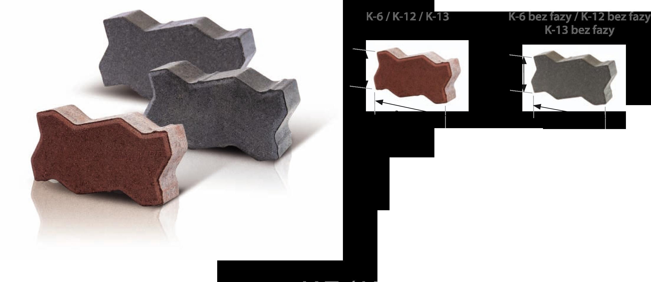 Kostki brukowe przemysłowe K-6 / K-12 / K-13