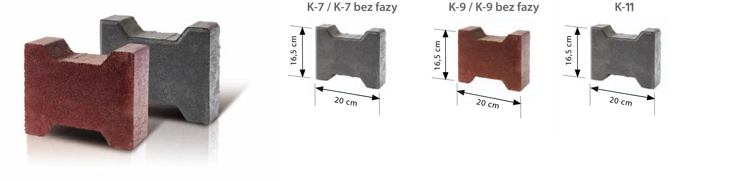 Kostki brukowe przemysłowe K-7 / K-9 / K-11