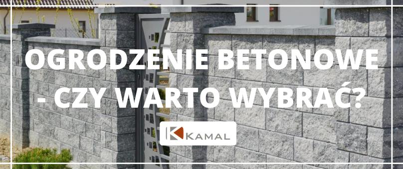 Nowoczesne ogrodzenie z elementów betonowych w kolorze szarym